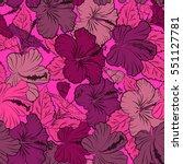 vector hibiscus flowers and... | Shutterstock .eps vector #551127781