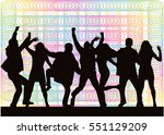 dancing people silhouettes.... | Shutterstock .eps vector #551129209