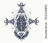 scarab  tattoo  ancient egypt ... | Shutterstock .eps vector #551134891