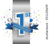 1st anniversary logo with... | Shutterstock .eps vector #551135659