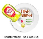 vector kitchen dish wash bottle ... | Shutterstock .eps vector #551135815