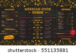 mexican food restaurant menu ... | Shutterstock .eps vector #551135881