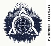 celtic trinity knot  helm of... | Shutterstock .eps vector #551136151
