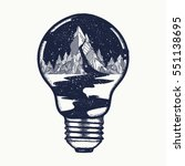 mountains in a light bulb ... | Shutterstock .eps vector #551138695