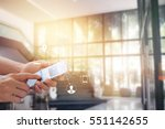 man using mobile payments... | Shutterstock . vector #551142655