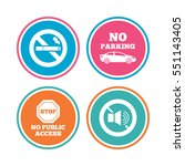 stop smoking and no sound signs....   Shutterstock .eps vector #551143405