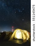 small tent in camping field...   Shutterstock . vector #551145475