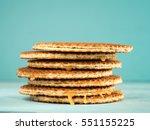 stroopwafels or caramel dutch... | Shutterstock . vector #551155225