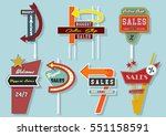 vector retro billboards vintage ... | Shutterstock .eps vector #551158591