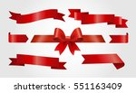 set of red ribbons on gray... | Shutterstock .eps vector #551163409