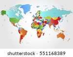 world map countries vector on...   Shutterstock .eps vector #551168389