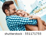 happy couple in love having fun ... | Shutterstock . vector #551171755