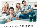 group of friends having fun and ... | Shutterstock . vector #551173591