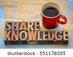 Small photo of Share knowledge word abstract in vintage letterpress wood type with coffee