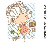 cute little girl on picnic with ...   Shutterstock .eps vector #551182165