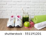 healthy concept sneaker apple... | Shutterstock . vector #551191201