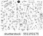 hand drawn doodles cartoon set... | Shutterstock .eps vector #551193175