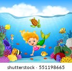 cartoon mermaid with beautiful... | Shutterstock . vector #551198665