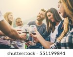 group of friends at restaurant... | Shutterstock . vector #551199841