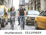 couple of cyclist in new york   ... | Shutterstock . vector #551199859