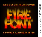 abstract fire alphabet font.... | Shutterstock .eps vector #551204239