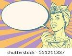 woman eating morning porridge ... | Shutterstock .eps vector #551211337