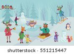 vector winter landscape with... | Shutterstock .eps vector #551215447