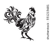 stylized rooster. decorative... | Shutterstock .eps vector #551215681