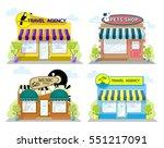 set of front facade buildings ... | Shutterstock .eps vector #551217091