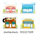 set of front facade buildings ... | Shutterstock .eps vector #551217109