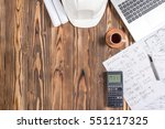 Engineer's Desk In Office With Various Gadgets, View From Top With Available Copy Space - stock photo