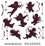 black and white cupids... | Shutterstock .eps vector #551223325