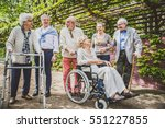 group of senior people with... | Shutterstock . vector #551227855