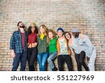 group portrait of multi ethnic... | Shutterstock . vector #551227969