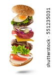 maxi hamburger with flying... | Shutterstock . vector #551235031