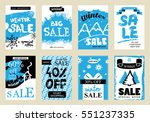 collection of winter sale... | Shutterstock .eps vector #551237335