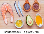 selection food sources of omega ... | Shutterstock . vector #551250781