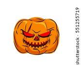 scary pumpkin for halloween.... | Shutterstock .eps vector #551255719