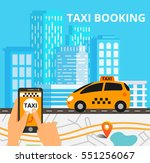 city skyline with taxi cab and... | Shutterstock .eps vector #551256067