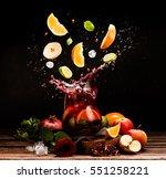 sangria. flying fruits. apple ... | Shutterstock . vector #551258221