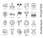 Car Racing Vector Line Icons....