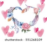Watercolor Card With Feathers...