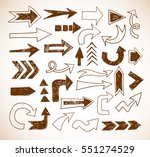 doodle sketch arrows in vintage ... | Shutterstock .eps vector #551274529