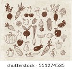 doodle fruits and vegetables on ... | Shutterstock .eps vector #551274535