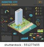 flat 3d isometric resort hotel  ... | Shutterstock .eps vector #551277655