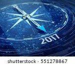 2017 Year Compass Concept. 3d...
