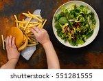 child making choice between... | Shutterstock . vector #551281555