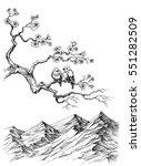 spring birds on tree branch... | Shutterstock .eps vector #551282509
