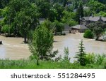 Small photo of Calgary, Alberta, Canada, June 22 2013: Flooded city streets from once in a life time flood in Calgary, Alberta