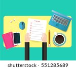 working place top view.... | Shutterstock . vector #551285689